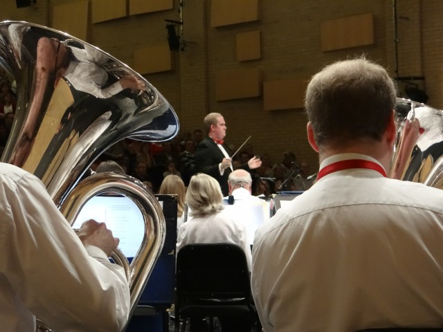 Thornden Community Wind Band performing Christmas concert with The Spitfire Sisters, 2016, at Thornden Hall.