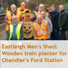 Wooden Train Built by Eastleigh Men's Shed Arrived at Chandler's Ford Station