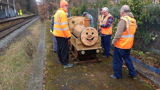 New wooden train planter created and installed at Chandler's Ford Station by Eastleigh Men's Shed.