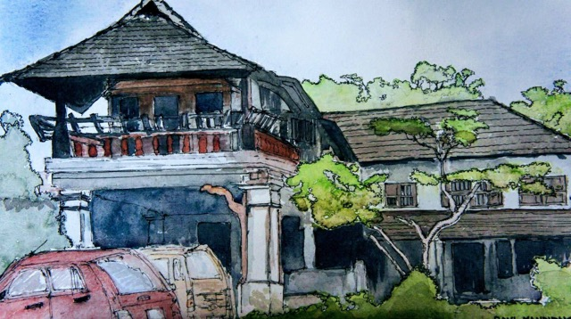 The house I grew up in - Tellichery, Kerala (India). Water colour by Bangalore artist and cousin Vinay Nambiar.