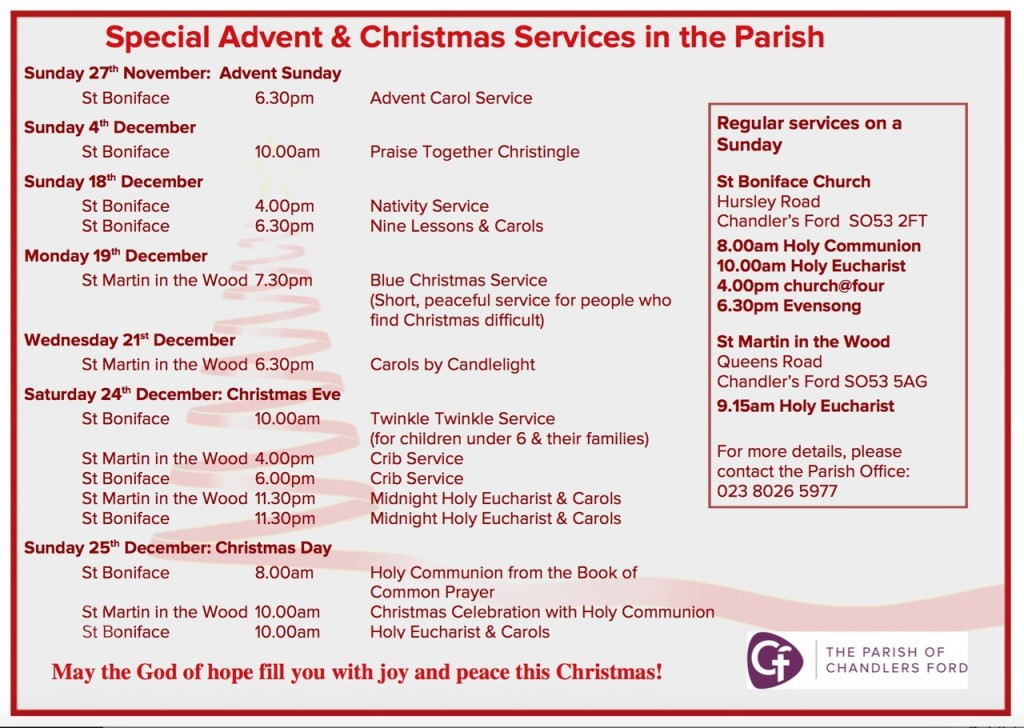 Special Advent and Christmas Services 2016 in the Parish of Chandler's Ford.
