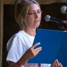 Performance Poetry at New Forest Festival - image from CFT archives from Sandra's earlier interview