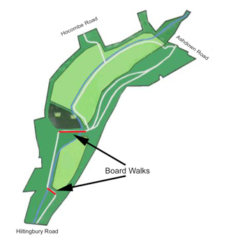 Hocombe Mead Board walks map.
