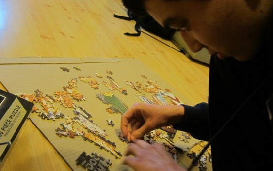Making progress. Christmas jigsaw puzzles - Ben is working on a Doctor Who jigsaw puzzle at Christmas.