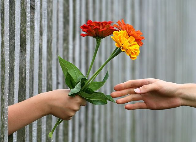 Kindness image by klimkin via pixabay. Giving flowers to people.