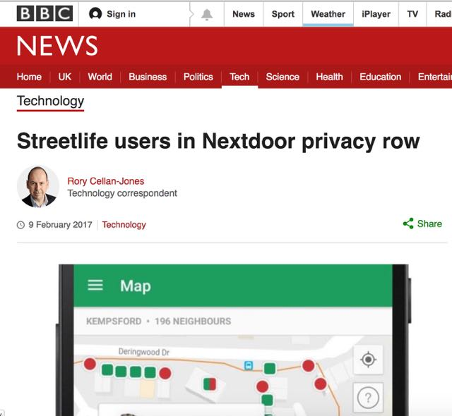 BBC News on Streetlife users in Nextdoor privacy row.