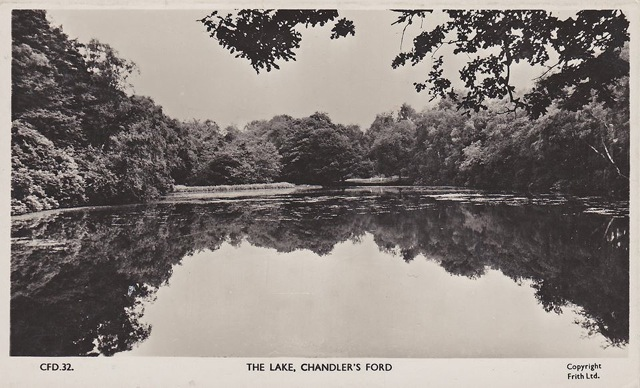 Hiltingbury Lake in the days when it was edged by rhododendrons.