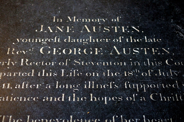 Jane Austen's tomb at Winchester Catherdral - image via Flickr by Lex McKee