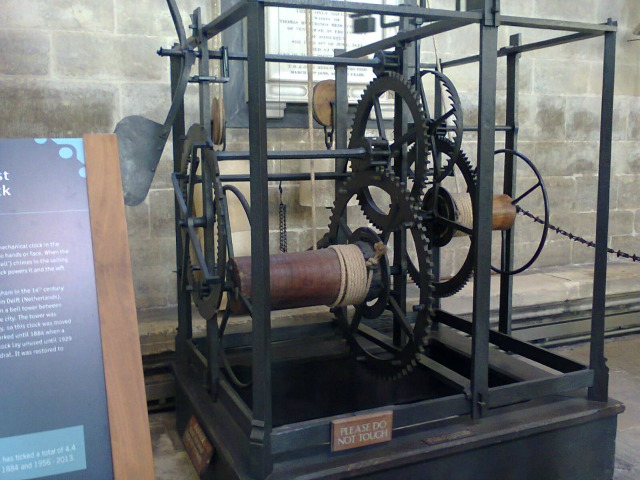 Medieval Clock in Salisbury Cathedral - still works - image by Allison Symes