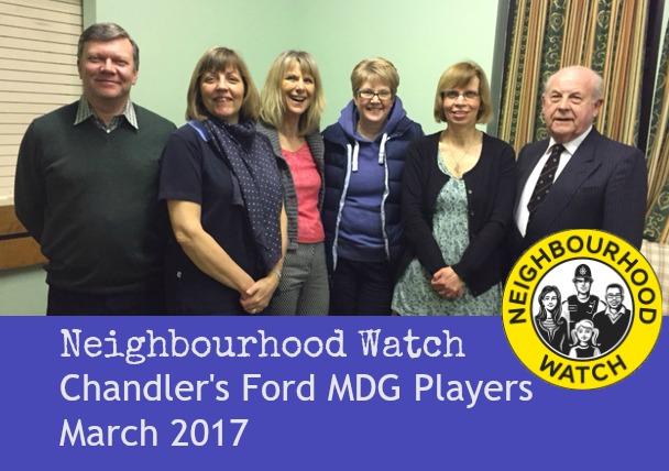 Neighbourhood Watch cast -Chandler's Ford MDG Players, March 2017.