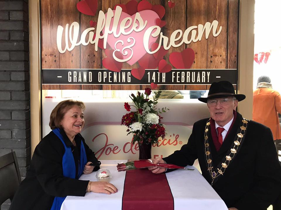 The Mayor of Eastleigh Councillor Des Scott and The Mayoress Mrs. Ve Scott for the grand opening ceremony of Waffles and Cream.