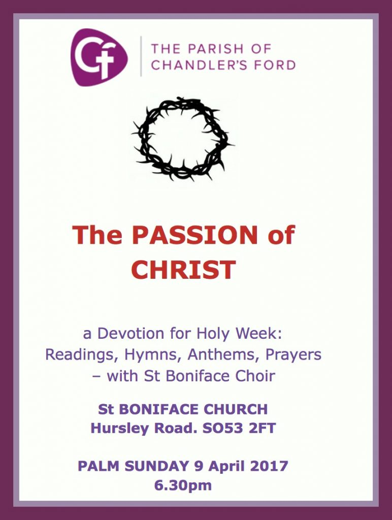 The passion of Christ 9 Apr 2017 St Boniface Church