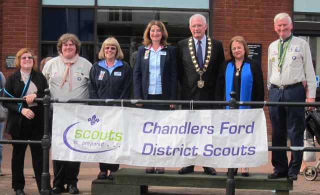 Chandler's Ford Scout District St. George's Day Parade 2017. Mayor of Eastleigh.