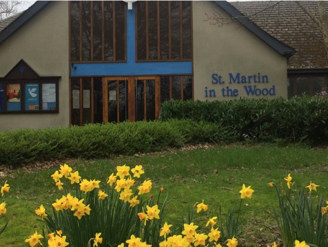 Daffodils at St. Martin in the Wood Church, Hiltingbury. Image by Christine Whitehead.