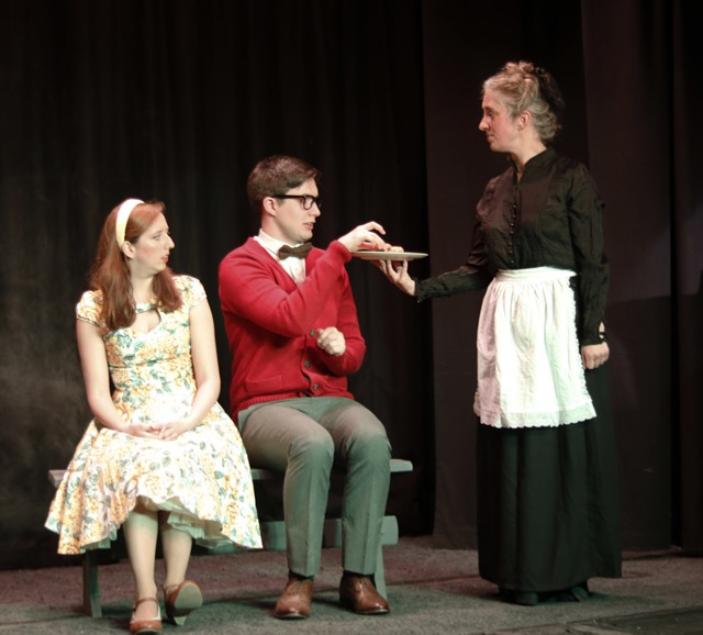 Timothy Rachonsfield (Paul Jones), (left) Lucy Lackenspiel (Kayleigh Fagence), Hampshire (Liz Finbow). Chandler's Ford Chameleon Theatre Company April 2017