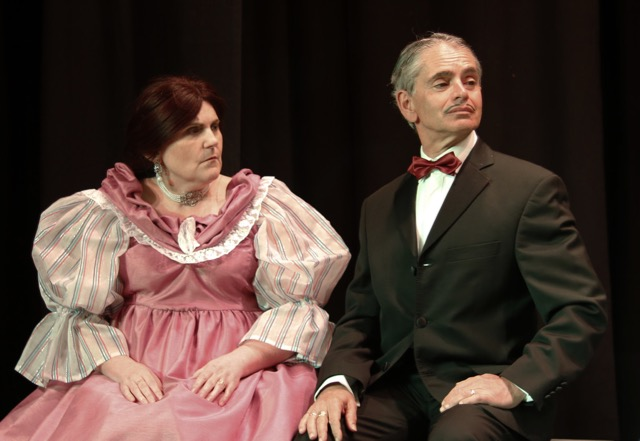 Count Silvio, played by Stuart Wineberg, and Lady Rackonsfield, by Sian Hayden. Chandler's Ford Chameleon Theatre Company April 2017