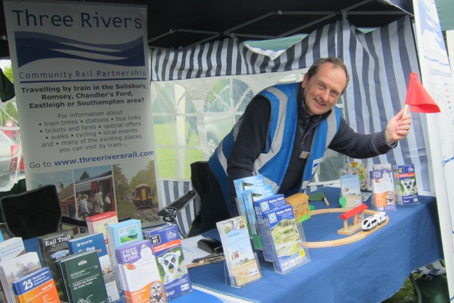 Mark Miller, Three Rivers Community Rail Partnership Officer promoting train services.