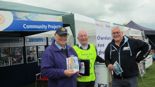 Jonathan Rees (right), one of the sponsors, with Rotary Club of Chandler's Ford & Itchen Valley.