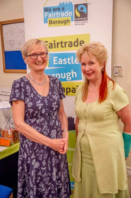 Tricia Urquhart (left) and Heather Dibb. Fairtrade Fashion Show at St Martin in the Wood Church, May 2017. Image credit: Debbie Pearce.