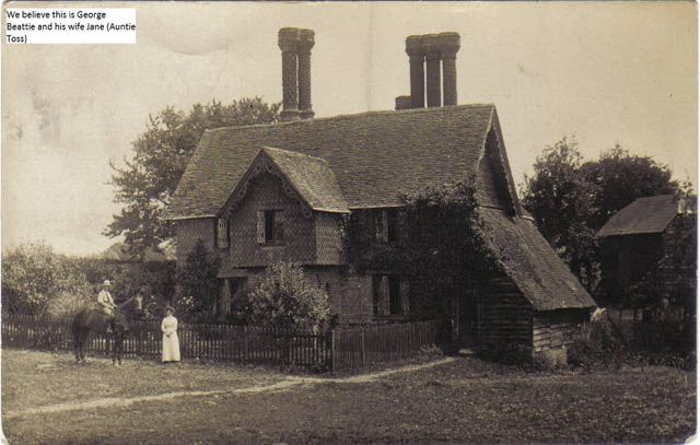 Hiltonbury Farmhouse 1912. Hiltonbury Farmhouse 1912. We believe this is George Beattie and his wife Jane (Auntie Toss).
