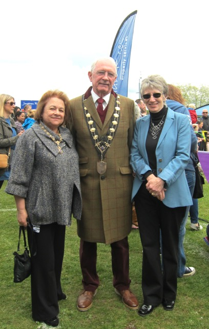 The Mayor of Eastleigh , Councillor Des Scott, Mayoress Mrs. Ve Scott, and Mrs Margaret Atkinson, Chairman of the Parish of Chandler's Ford. Fryern Funtasia 2017.