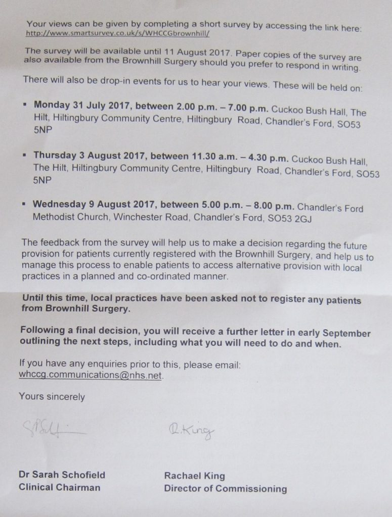 Brownhill Surgery, Brownhill Road, Chandler's Ford. Page 2.