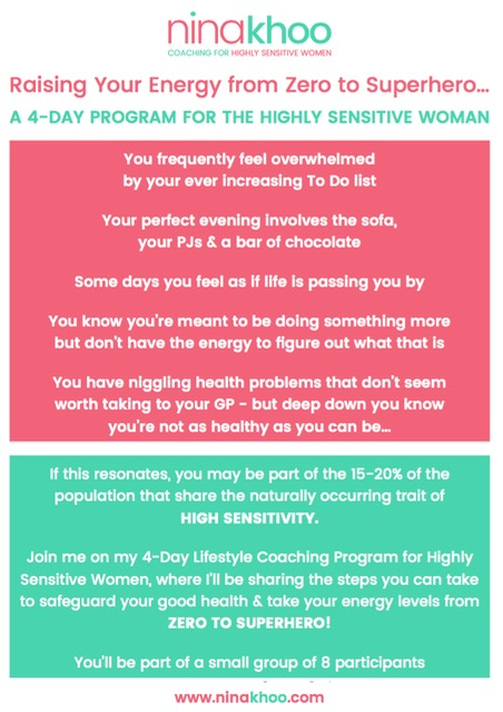 A 4-Day program for the Highly Sensitive Women by Nina Khoo