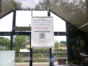 Poster on the door at Chandler's Ford Railway Station - image by Allison Symes