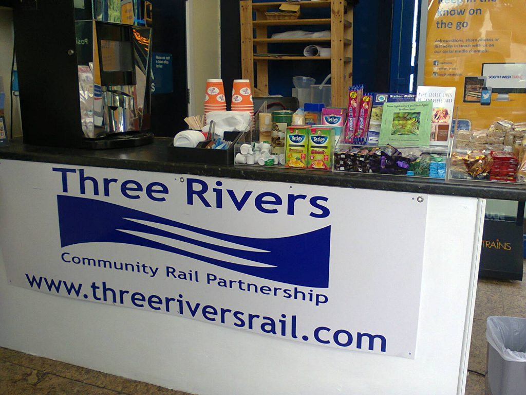 Three Rivers drinks and refreshments stall. Now with added books! Image by Allison Symes