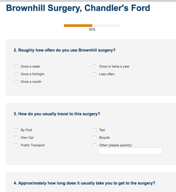Some questions on the patient survey.