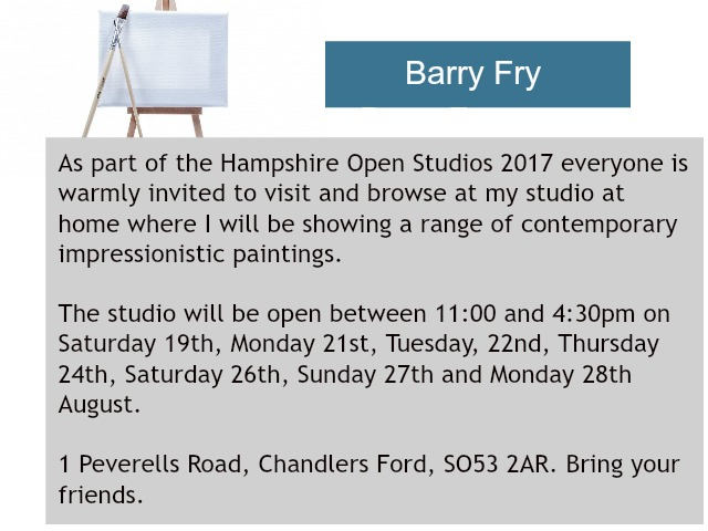 Barry Fry contemporary artist opens his studio in August.