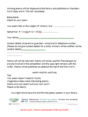 Entry Form Children's Poetry Competition