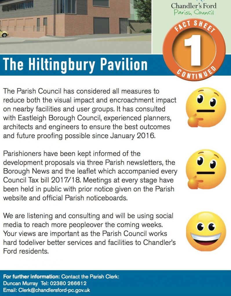 Chandler's Ford Parish Council Pavilion Hiltingbury pg1