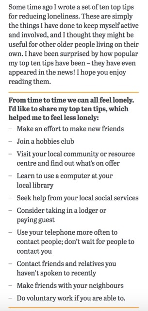 Derek Taylor's tips on combating loneliness.