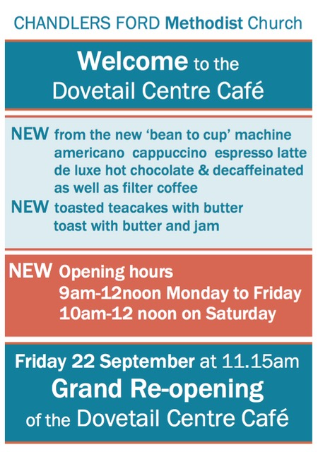 Dovetail Centre Café at Chandler's Ford Methodist Church, on Winchester Road.