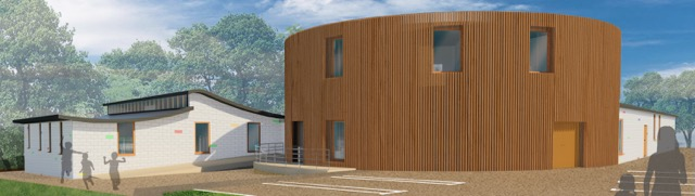 Front view of Chandler's Ford Infant School - redesigned by April Rapley.