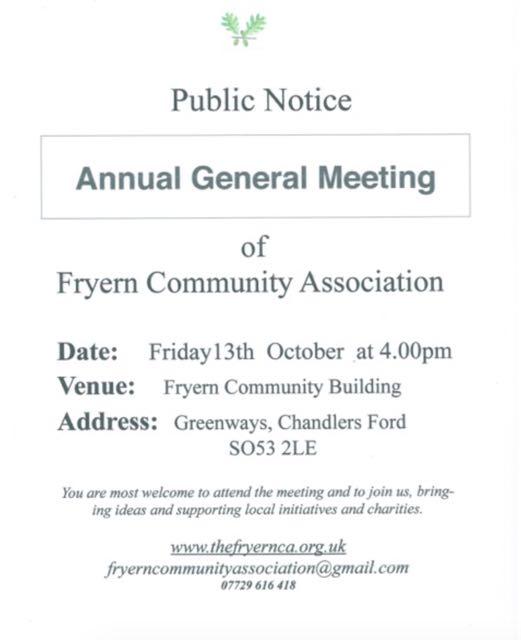 Fryern Community Association AGM: Friday 13th October at 4pm