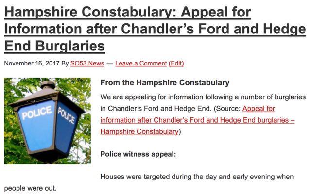 Chandler's Ford burglaries November 2017