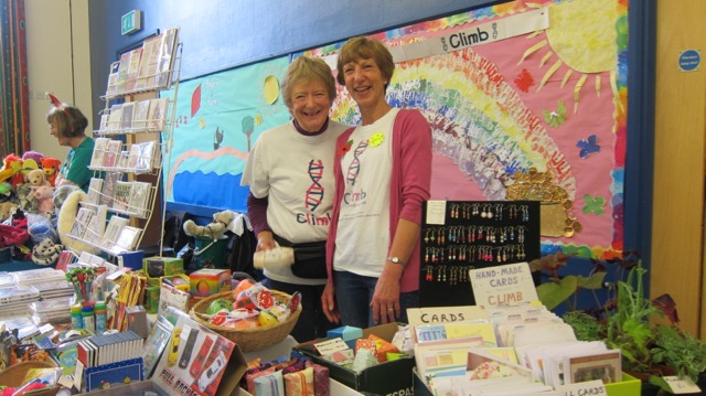 Caroline with Diane at the CLIMB fundraising stall in November 2017.