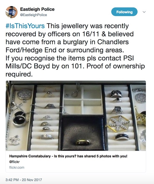 Eastleigh Police Jewellery Recovered Chandler S Ford Today