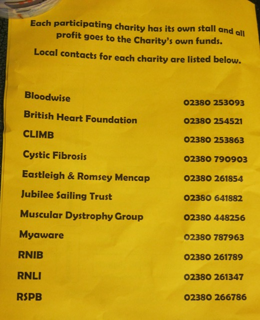 Local contacts for charities in Chandler's Ford and Eastleigh