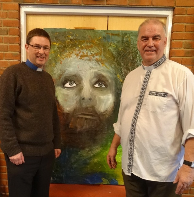 Revd Peter Cornick, minister of Chandlers Ford Methodist Church and Revd David Hollingsworth with the final painting