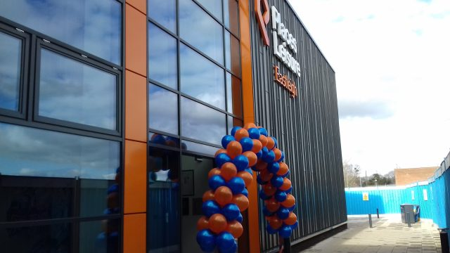 Balloons around the main entrance