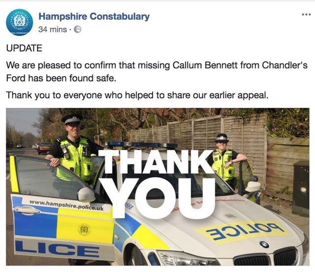 Hampshire Constabulary: Callum Bennett found safe