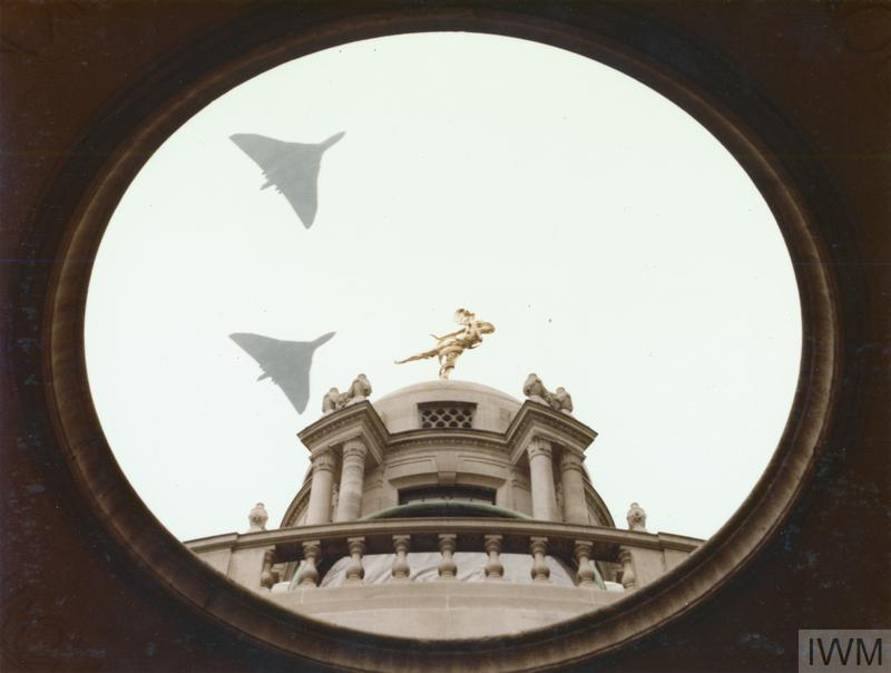 The Falklands conflict, April to June 1982 (FKD 815) The City of London's 'Salute to the Task Force' which marked the retaking of the Falkland Islands. RAF Avro Vulcan bombers fly over the dome of St Paul's Cathedral. Copyright: © Crown copyright. IWM (FKD 815)