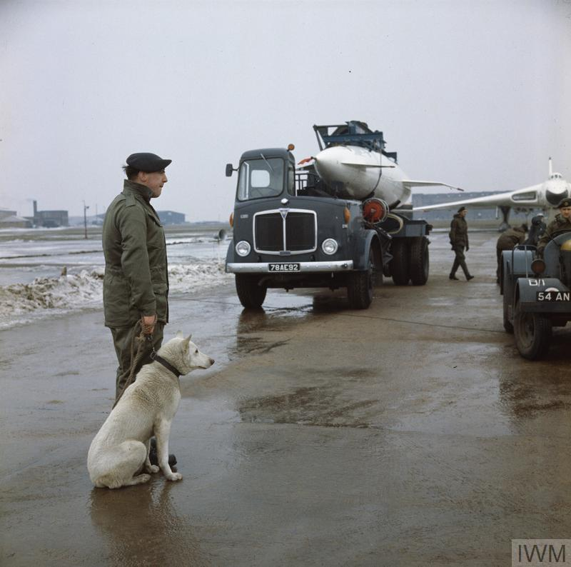 The Royal Air Force, 1950-1969 (RAF-T 3615) Delivering the Avro Blue Steel stand-off nuclear bomb from storage to the awaiting Avro Vulcan B.2A. A tractor pulls alongside preparing a 'dolly' to take the bomb to the aircraft. This image was taken at RAF Scampton, Lincolnshire, home of No 617 Squadron. As was procedure an RAF Police dog handler and his 'Air Dog' guard the aircraft and ordnance. Copyright: © IWM (RAF-T 3615)