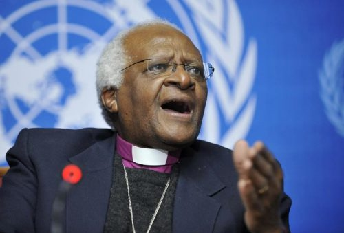 Archbishop Desmond Tutu, Head of Hight-Level Fact-Finding Mission speaks during press conference at the Human Rights Council at the ninth session.