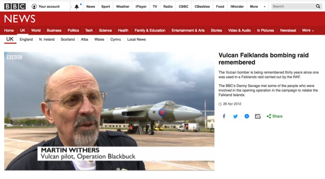 BBC Vulcan Falklands bombing raid remembered