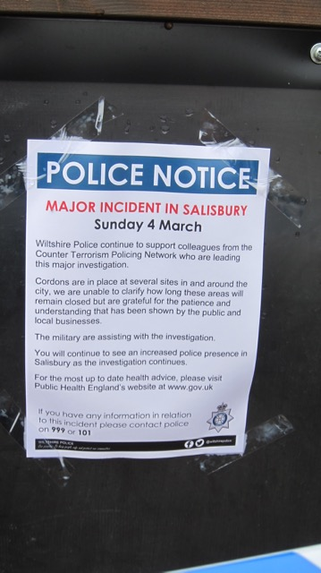 A Police Notice outside the pub (The Mill)