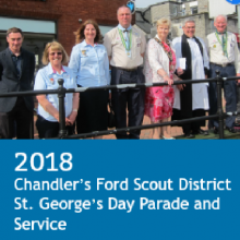 "Chandler's Ford St. George's Day Parade 2018 with The 14th Eastleigh Scout and Guide Band  (""The Spitfires"")"